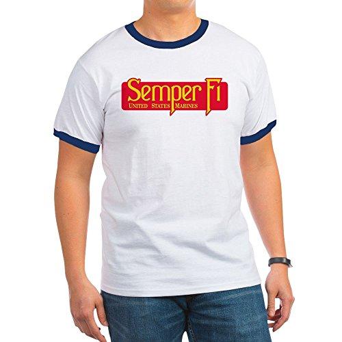 Royal Lion Ringer T-Shirt Marine Corps Semper Fi Fidelis - Navy/White, Large