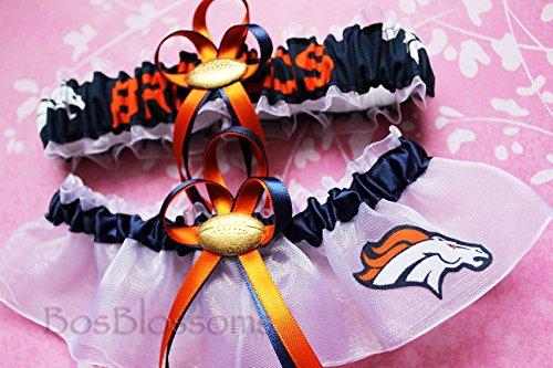 Customizable - Denver Broncos fabric handmade into bridal prom organza wedding garter set with football -