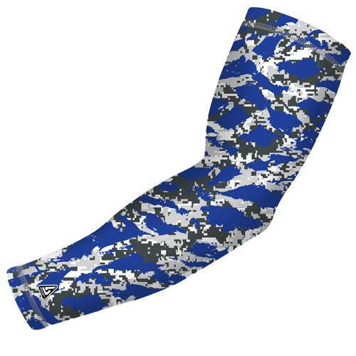 B Driven Sports Compression Arm Sleeves, Pro-Fit Compression Design , Blue The Wild Camo Pattern, Adult S/M, Many colors and sizes Inc. youth Thru Adult 3X, Sold as 1 SLEEVE