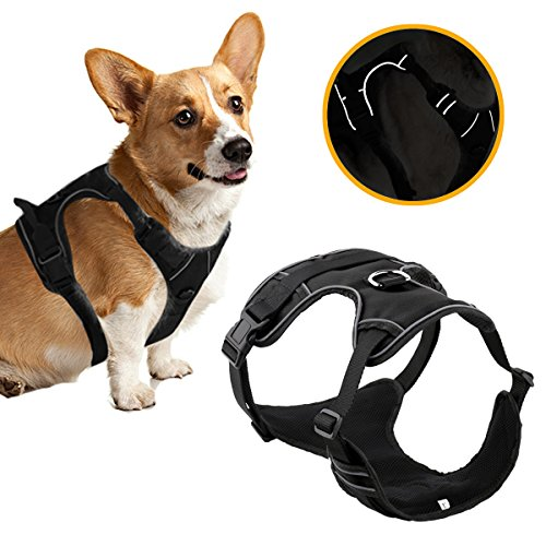 Banne Dog Harness, Front Range Soft Air Mesh Padded Adjustable Reflective Outdoor Vest Harness Small Medium Large Dogs(Medium)