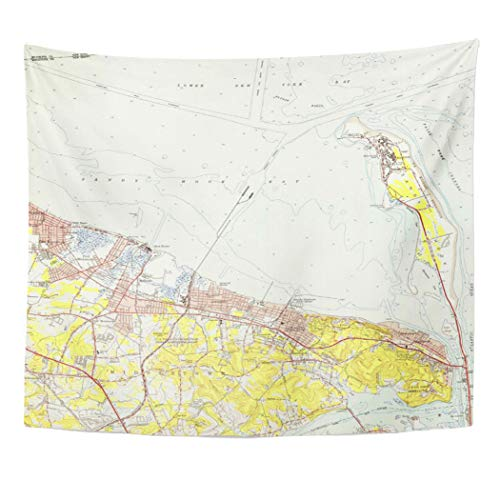 Semtomn Tapestry Artwork Wall Hanging Coast Vintage Map of Sandy Hook Coastal Shore Old 60x80 Inches Home Decor Tapestries Mattress Tablecloth Curtain Print]()