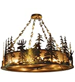 Meyda Tiffany Custom Lighting 32206 Wildlife at Dusk 12-Light Pendant, Antique Copper Finish with Silver Mica Panels