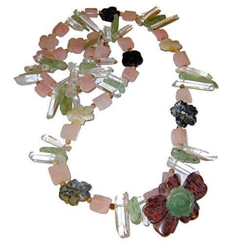 l Medley Necklace 02 Flower Goddess Clear Quartz Points, Pink Rose, Jasper, Rare Green Kyanite, Aventurine Lover Stone 36