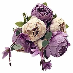 Celine lin Vintage Artificial Peony Silk Flowers Bouquets Floral Home Party Wedding Decoration DIY,New purple 3