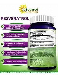 100% de resveratrol puro - 1000 mg por porción Fuerza máxima (180 cápsulas) Extracto de...