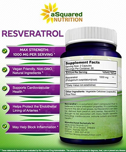 51%2BxDpJVieL - 100% Pure Resveratrol - 1000mg Per Serving Max Strength (180 Capsules) Antioxidant Supplement Extract, Natural Trans-Resveratrol Pills for Heart Health & Weight Loss, Trans Resveratrol for Anti-Aging