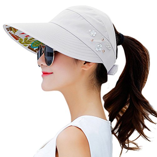 HINDAWI Sun Hats for Women Wide Brim Sun Hat UV Protection Caps Floppy Beach Packable Visor (Grey)
