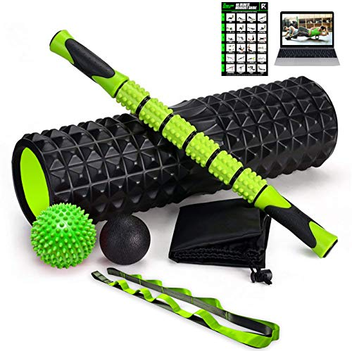 Fitness Kings The Ultimate Foam Roller Set - Large 18'' Foam Exercise Set with Massage Stick, Spiky Massage Ball, Ball Massager & Yoga Strap - Home Gym Set Perfect for Pilates, Includes Workout Program by Fitness Kings Brand