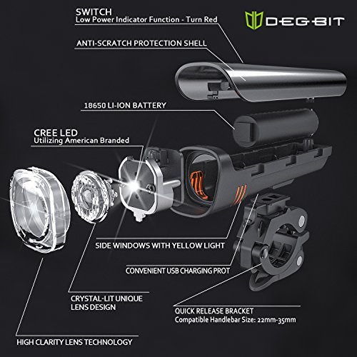 Anti-glare Safety Bike Lights Front and Back, DB DEGBIT Waterproof USB Rechargeable LED Bicycle Light Set, Powerful 4-mode Bright Headlight & Free Rear Light, Easy Install & Release Cycling Flashlight by DB DEGBIT (Image #3)