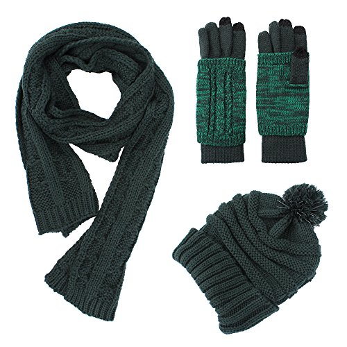 Knit Hat/Scarf/Glove Set, Fashion Soft Warm Thick Cable Knitted Knitting Hat Cap Beanie Mitten Touch Screen Gloves and Scarf, Winter Cold Weather Accessory Set Gift Set (Forest Green) (Hat And Set Mens Gloves)