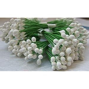 300 White Stamen Pollen Flower Craft Artificial Scrapbook Floral Round Wire Stem Card 57