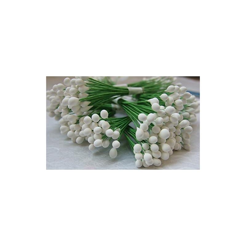 silk flower arrangements thaigood4you 300 white stamen pollen flower craft artificial scrapbook floral round wire stem card