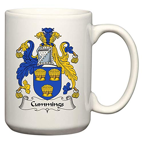 Cummings Coat of Arms/Cummings Family Crest 15 Oz Ceramic Coffee/Cocoa Mug by Carpe Diem Designs, Made in the ()