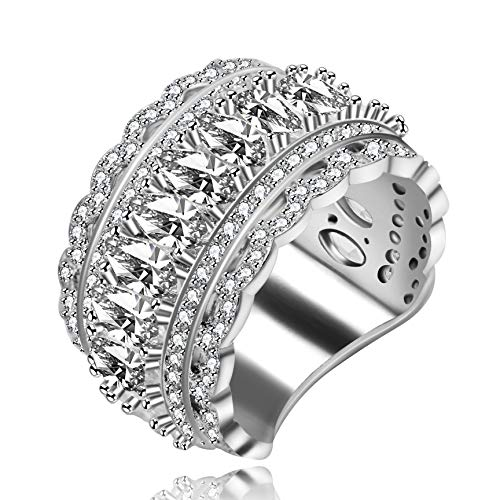 Uloveido Platinum Plated Unique Filigree Wide Eternity Band Marquise Cut Zircon Crystal Wedding Engagement Ring for Women (Size 9) NR309 ()