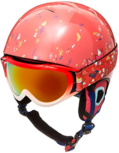 Roxy Misty Girl Pack Goggles and Helmet, Neon Grapefruit/Foxes, 54 (Roxy Uv Sunglasses Protection)
