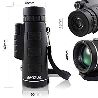 MAOZUA 12X Zoom Monocular Telescope Dual Focus Adjustable High Powered Spotting Scope Built-in Compass with Extension Tripod for Outdoor Hunting Camping