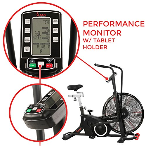 Sunny Health & Fitness Exercise Tornado Fan Air Bike with Bluetooth and Heart Rate Compatibility