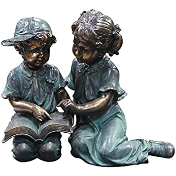 Alpine Boy And Girl Reading Together Statue Vintage Looking Garden Yard Art  Statue