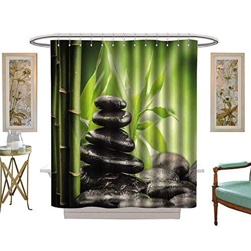 Stone 3 Asha - luvoluxhome Shower Curtains 3D Digital Printing Zen Basalt Stones and Bamboo W69 x L75 Bathroom Decor Set with Hooks