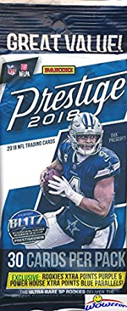 2018 Panini Prestige NFL Football EXCLUSIVE Factory Sealed JUMBO FAT PACK  with 30 Cards including 4 Rookies   6 Inserts Parallel! 80a65fe0a