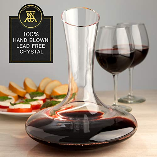 Beautiful, Crystal Wine Decanter Set, Hand Blown, 60 fluid oz - Wine Aerating Decanters with Elegant  Black and Gold Velvet Sleeve  - Drip-Free, Lead-Free, BPA-Free - Table Aerator Carafe by The Urbane Apothecary (Image #4)