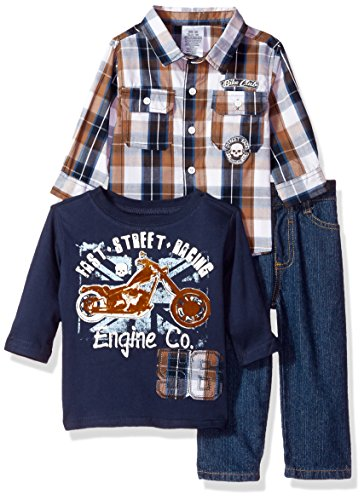 Little Rebels Baby Boys' 3 Piece Motorcycle Pullover And Pant Set, Navy, 24 Months ()