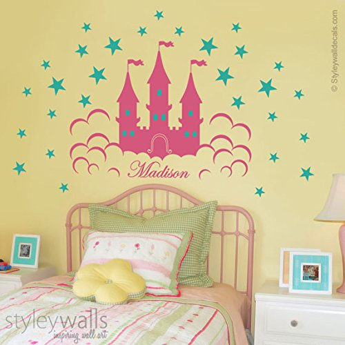 Princess Fairy Castle Wall Decal, Princess Castle Stars Wall Sticker For  Girls Room Nursery Room