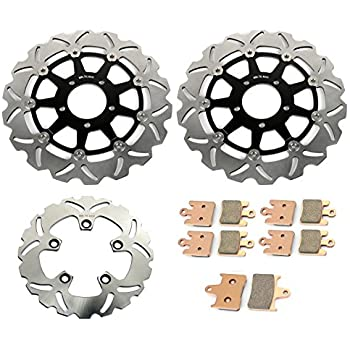 TARAZON Black Front Rear Brake Discs Rotors + Pads Kit for Suzuki GSXR 1000 GSX-R 1000 2003