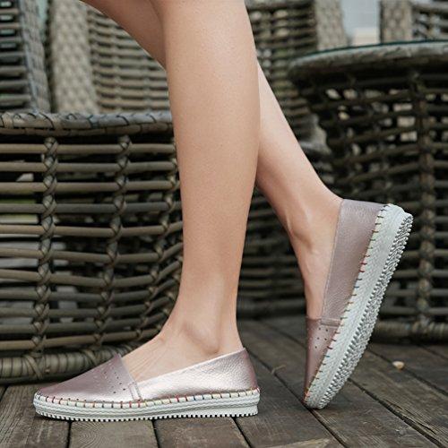 YOUJIA Mujer Cómodo Respirable Cuero PU Mocasines Planos Slip On Zapatos de ocio Pink