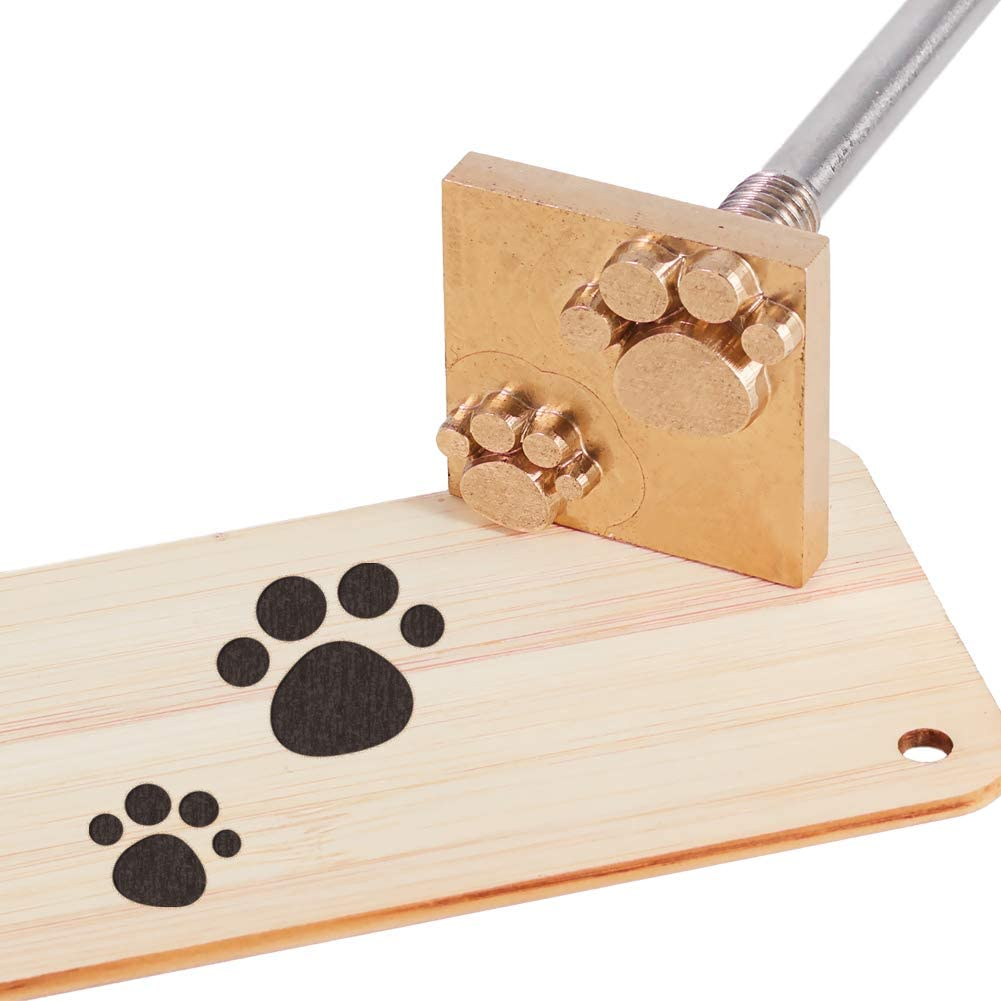OLYCRAFT Wood Branding Iron BBQ Heat Stamp with Brass Head and Wood Handle for Wood, Leather and Most Plastics - Dog Paw