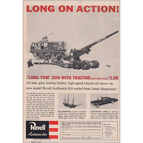 1957 Revell Authentic Kits: Long Tom Gun with Tractor, Revell Print Ad ()