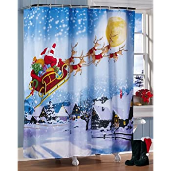 Santas Flight Christmas Bathroom Shower Curtain By ETC