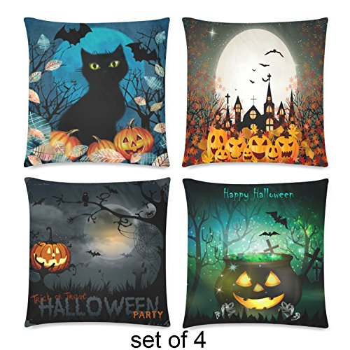 InterestPrint 4 Pack Happy Halloween Holiday Throw Cushion Pillow Case Cover 18x18 Twin Sides, Pumpkin Bat Trick or Treat Zippered Pillowcase Set Shams Decorative (Happy Halloween Happy Halloween)