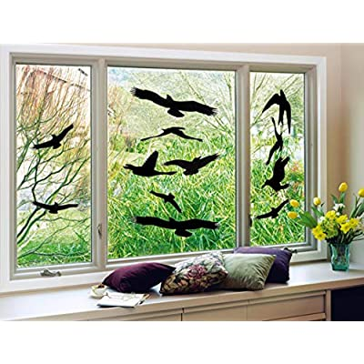 Anti-Collision Window Alert Bird Stickers Glass Door Protection Save Birds Window Decals - Set of 12 Silhouettes (Combinations): Toys & Games