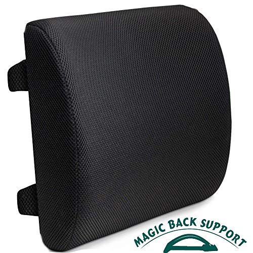 Magic Back Support Lumbar Support Cushion & Pillow for Office Chair & Car,100% Pure Memory Foam