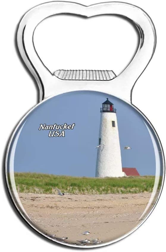Weekino USA America Nantucket Great Point Lighthouse Fridge Magnet Bottle Opener Beer City Travel Souvenir Collection Strong Refrigerator Sticker