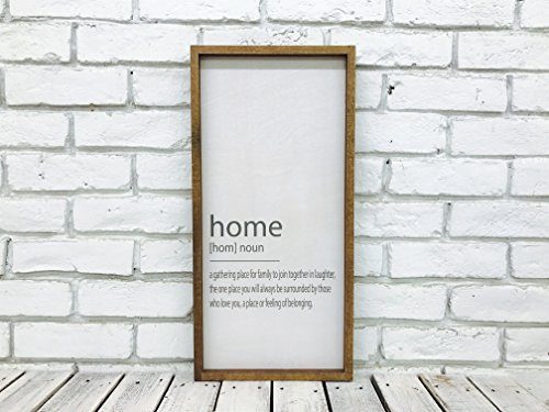 Madi Kay Designs Welcome Home Sign with Walnut Frame Farmhouse Sign Decor