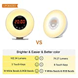 Wake Up Light, Sunrise & Sunset Simulation Alarm Clock, Memory Battery with Adjustable Brightness /7 Colors/6 Sounds, Snooze, FM Radio, Touch Control Function for Adults and kids