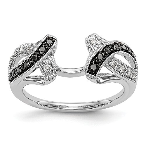 14k White Gold Black and White Diamond Wrap Ring Size 7 (H/SI2,0.20ct) Ideal Gifts for Women (20 Carat Diamond Ring)