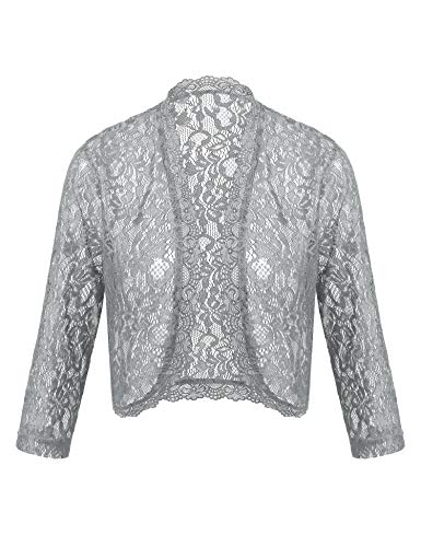 Lace Crochet Bolero Scallop Trim Shrug Jacket for Wedding Dress Open Front Casual Cover Up (Light Grey, XXL)