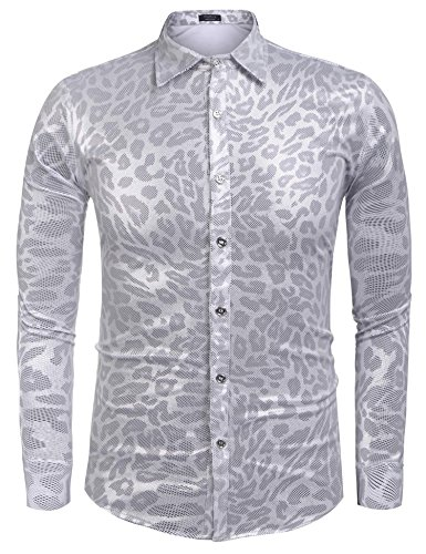 Disco Dance Costume Designers (Zuckerfan Men's Metallic Shiny Nightclub Styles Long Sleeves Button Down Dress Shirts For Party Disco Dance(Misty Grey,Small))