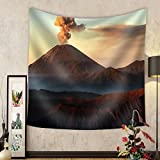 Niasjnfu Chen Custom tapestry Volcanos Mount Semeru and Mount Bromo in East Java Indonesia - Fabric Wall Tapestry Home Decor