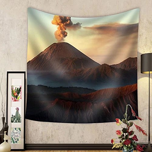 Niasjnfu Chen Custom tapestry Volcanos Mount Semeru and Mount Bromo in East Java Indonesia - Fabric Wall Tapestry Home Decor by Niasjnfu Chen