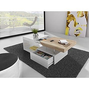 Table basse blanc laqué et chêne clair MALU: Amazon.fr ...