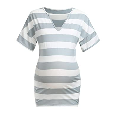 9e6745d4716f5 Women Casual Maternity Blouse Wide Striped V-Neck Tunic Tops Pregnancy  Simple Shirts at Amazon Women's Clothing store: