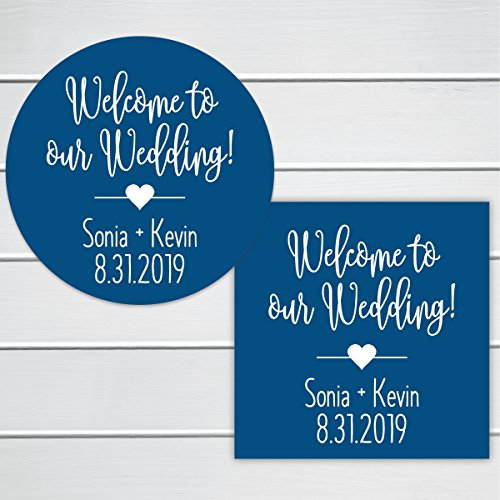 Welcome To Our Wedding! Event/Celebration Destination Bag Stickers (#219-SS) (Aqua And Brown Wedding Invitations)