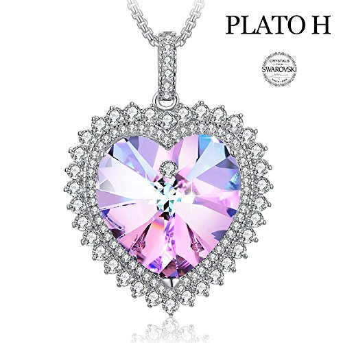 Elements Ornament (PLATO H Heart Shape Necklace Mom Gifts Necklace Swarovski Elements Crystal Deep Love Heart Pendant Necklace for Women, Best Gft for Her, Hot Pink)