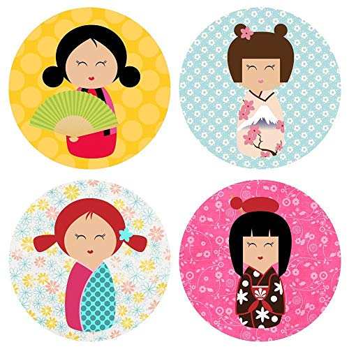 - Kokeshi Girl in Kimono Sticker Labels - Geisha Girl Party Favors Envelope Seal - Set of 50