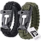 Outdoor Survival Kit Bracelet Paracord Whistle Gear Flint Fire Starter-2 Pack