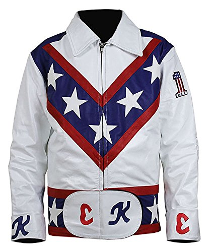 III-Fashions Daredevil Evel Knievel Stuntman Costume Motorcycle Biker White Leather -